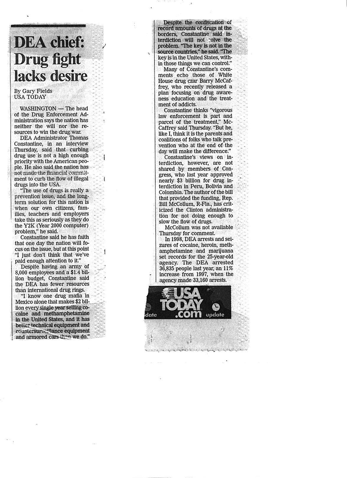 USA Today clipping 2/19/1999 DEA says